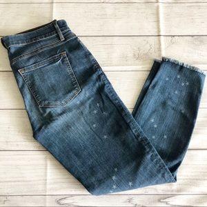 Loft Modern Skinny crop jeans w/star pattern